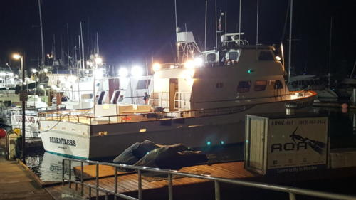 Relentless at the dock getting ready for the trip